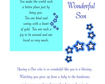 Son Birthday Card with removable Laminate