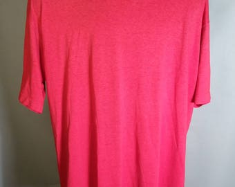 80s Jerzees Red Super Soft Tee Blank Crewneck Sz Large 42-44 1980s Retro Paper Thin Polycotton 50/50 Blend Made in USA Classic Basic Knit