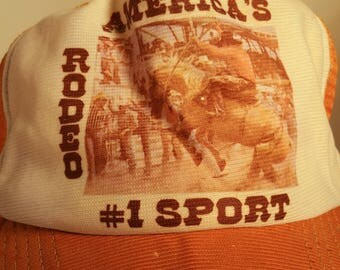 70s RODEO America's #1 Sport Mustard Yellow Brown Snapback Trucker Hat Bronco Bull Riding Cowboy Country Western Rustic Southern Lasso