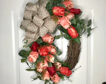 Tulip Wreath, grapevine tulip wreath, tulip front door, spring wreath, coral tulip wreath, oval tulip wreath, wreath, grapevine tulip wreath