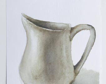4 1/2'' x 6 1/2'' Rustic Pitcher Watercolor Painting Print, Art Print, Watercolor Print, Rustic Decor