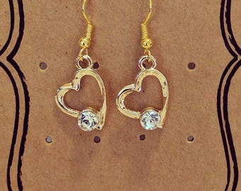 Gold Plated Heart Shaped Earrings with Gem