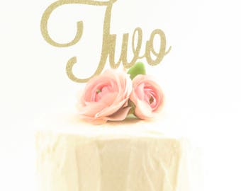 Two Cake Topper - Second Birthday Cake Topper - Gold Two Cake Topper