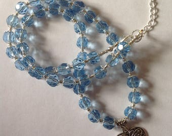 Blue crystal glass beaded necklace pendant necklace crystal necklace blue necklace heart necklace statement necklace beaded necklace fashion