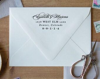 Address Stamp Wedding Return Stamp, Rubber Stamp Return Address Stamp Monogram, Rubber Stamp with Handle, Personalized Stamp Address