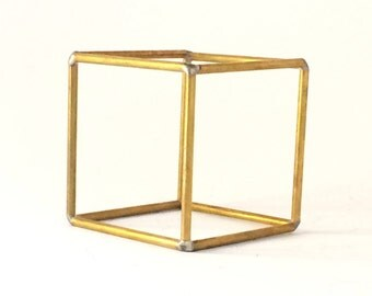 hexahedron platonic solids sacred geometry stained brass healing