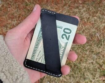 The Chapman Minimalist Wallet, Slim Leather wallet, Front Pocket Wallet, Cash Strap, Card Wallet, Gift for men, Black Wallet, Leather Wallet