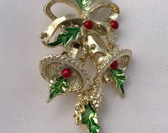 Gerry's Christmas Bells and Holly Berries Brooch/Pin, Signed