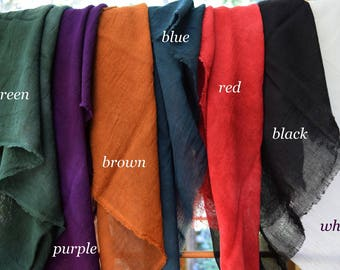 Hand Dyed Scarves, Harem Cloth, 30x30. Fiber Crafts, DIY. 100% Cotton, Choice of 7 colors