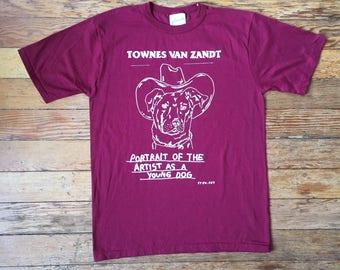 Townes Van Zandt Print by Stew.art on Vintage T-Shirt - Maroon/Red