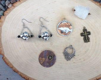 Destash jewelry supply lot- coin, cross, crystal