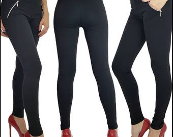 Womens Ladies Full Length Skinny Fit Leggings With Zipped Front Pockets 6 8 10 12 14 16 18