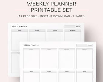Weekly Planner, Schedule, Agenda and Organiser Printable | A4