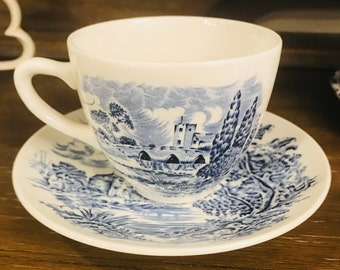 Tea Cup And Saucer Set In Countryside Blue by Wedgwood - Enoch Wedgwood (Tunstall) Ltd England