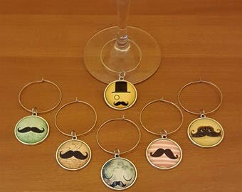 Wine Glass Charm Mustache Design Glass Cabochon Set of 6