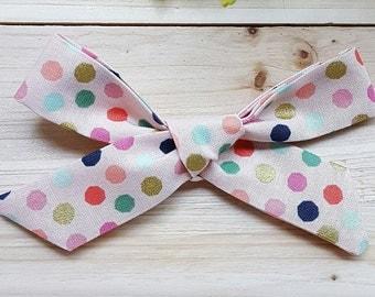 Pink Polka Dot Oversized Schoolgirl Bow
