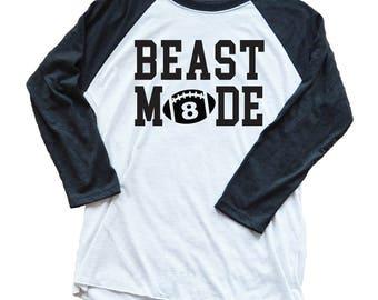 Football Shirt with Number - Custom Unisex Beast Mode Football Shirt - Game Day Shirt - Football Parent - Unisex - Custom 3/4 Length Sleeve