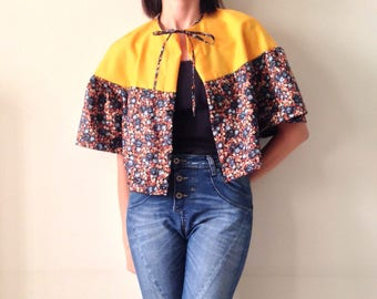 Flared short jacket - yellow and floral shawl - laces