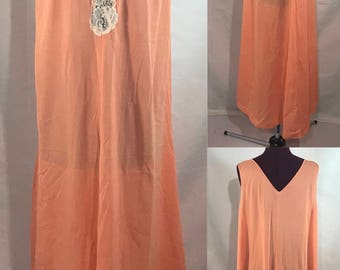 1950-60's   Orange Nightgown   polyester and lace