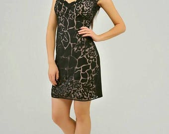 Black little dress for cocktail party, formal dress with interesting print