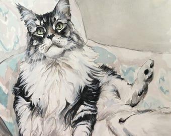 Custom Cat Painting-Cat Portraits-Custom Watercolor Pet Portrait-Birthday Gift-Pet Portrait