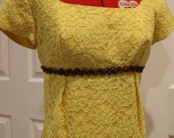 1950's 1960's Canary Yellow Lace Wiggle Dress