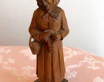 Vintage Wood Carved Woman Standing with Basket - German - By: W.u.M. Heinzeller, Holzschnitzerel 8103 Oberammergau, Dorfsir.9.Tel.4785