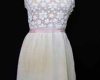 Lace and Chiffon Champagne Floral Dress