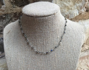 Silver chain choker with multi colored beads