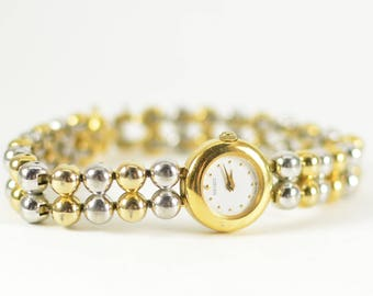 Two Tone Gold and Silver Decorative Watch // For Bracelet Layering // Vintage Fashion Timepiece