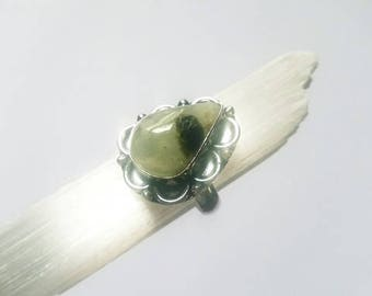 Prehnite Ring Prehnite Crystal Ring Prehnite Gemstone Ring Statement Ring Crystal Ring size 8 1/2