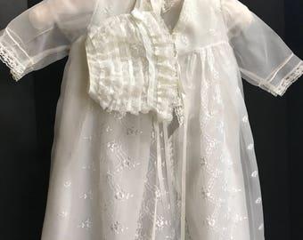 Vintage  Heirloom Madonna Christening Gown w/ bonnet