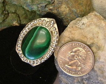 Malachite Ring Sterling Silver Size 6 Large Handmade Dragon Shield Chunky Green Banded Boho Statement Ring Statement Jewelry 323G