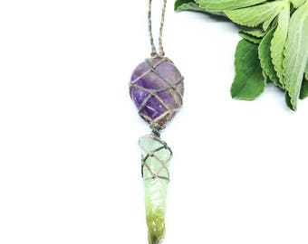 AMETRINE & GREEN CALCITE hemp, macrame, healing, crystal necklace