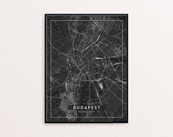 Budapest Black City Map Print, Clean Contemporary poster fit for Ikea frame 24x34 inch, gift art him her, Anniversary personalized travel