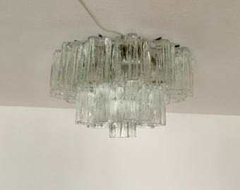 Fantastic mid-century modernist Murano ice glass flush mount chandelier by Venini | 1960 's |
