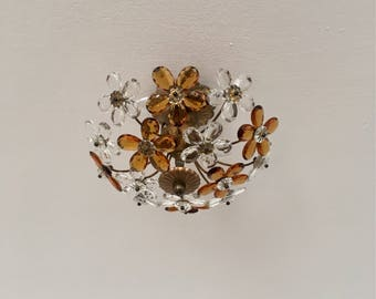 Beautiful Italian mid-century floral crystal glass flush mount chandelier by Christoph Palme | 1960 's |