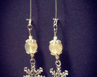Snowflake Earrings-Silver and natural gemstone earrings-gift Idea, Christmas winter Accessories