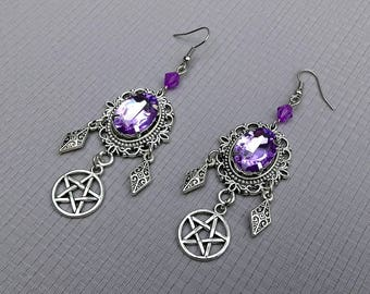 earrings cameo violet gem stone crystal pentagram pentacle silver gothic wicca pagan occult magic witch witchcraft witchy