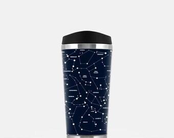 Constellation Travel Mug, Space Travel Mug, Stars Travel Mug, Navy Blue Travel Mug, Galaxy Coffee Travel Mug, Stainless Steel Mug, 16 oz