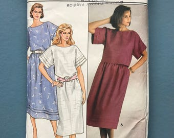 Butterick 3165 Vintage Retro 1980's Pull-on Dress Top Skirt Sewing Pattern Size 10 Bust 83 cm