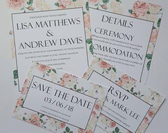Invitation, RSVP, Save the Date & Details, Pink Floral Wedding Stationery