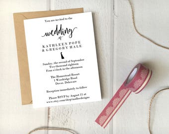 Delaware Wedding Invitation Printable Template 5x7 Card / Instant Download / Destination Wedding State Icon Print At Home Invite DIY