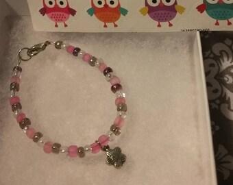 pink purple and silver children's beaded bracelet/ flower charm/flower girl bracelet