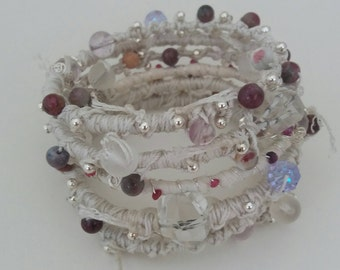Sari silk/cord bracelet - winter wonderland - gemstone and crystals with sterling silver elements - pure crystal energy