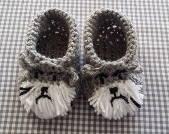 Handmade Baby Gift |  Crochet Baby Booties | Schnauzer Booties | Handmade | Baby Shower Gift | New Baby | Baby Boy | Baby Girl