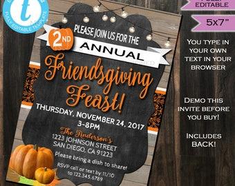 Friendsgiving Invitation - Thanksgiving Feast Dinner Party Invite - Potluck - Turkey Pumpkin Printable Custom DIY INSTANT Self EDITABLE 5x7