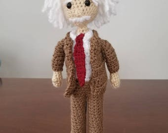 crAFty Characters: Albert Einstein, the Scientist doll,  Great Thinkers, handmade crochet doll collection