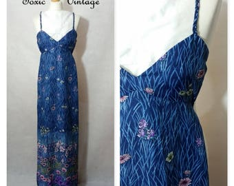 VINTAGE 1960's 1970's Blue FLORAL Placement Print Strappy MAXI Dress. Uk Size 6-8. Summer, Retro, Pretty, Festival, Elegant, Occasion, Chic