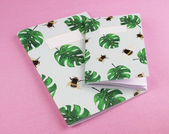Cute A6 Notebook / Bee Notebook / Gifts for her / Cute Notebook / Handmade notebook / Cute blank Notebook / cute sketchbook / A5 Notebook.